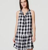 LOFT Petite Gingham Drop Waist Dress
