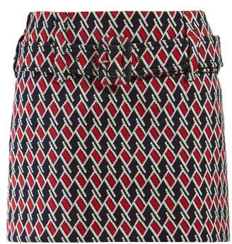 Prada Belted Houndstooth Jacquard Mini Skirt - Womens - Navy Multi