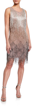 Aidan Mattox Fully Fringe Beaded Sleeveless Cocktail Dress