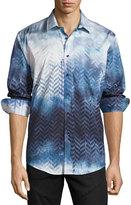 English Laundry Zigzag-Print Sport Shirt, Blue