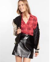 Express Slim Fit Plaid Print Portofino Shirt