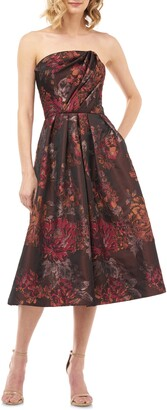Kay Unger Claudia Kensington Strapless Jacquard Cocktail Dress