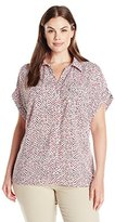 Notations Women's Plus Size Short Sleeve Y Neck Printed Blouse