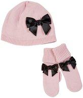 Kate Spade Bow Hat & Mitten Set (Toddler)- Strawberry Crea-3T