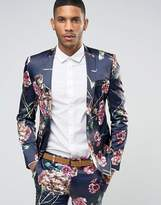 Asos Super Skinny Suit Jacket in Navy Floral Print
