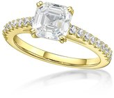 Nana Silver 7mm (2ct) Asscher Cut Solitaire Engagement Ring-Yellow Gold Plated-Size 5