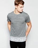 Bellfield T-Shirt with Contrast Geometric Hem