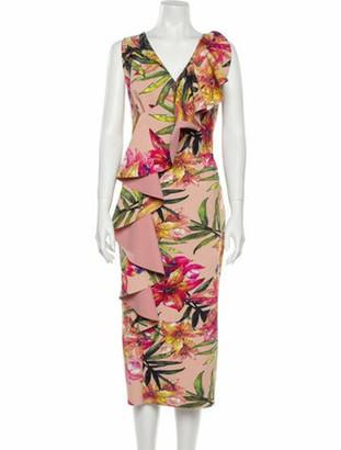 Chiara Boni Floral Print Midi Length Dress w/ Tags Pink