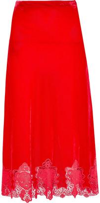 pushBUTTON Guipure Lace-trimmed Velvet Midi Skirt