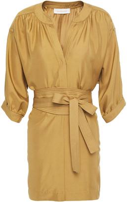 Zimmermann Belted Silk-satin Tunic