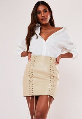 Missguided Faux Leather Lace Up Mini Skirt