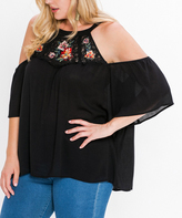 Flying Tomato Black Embroidered Ruffle-Sleeve Cutout Top - Plus
