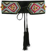 Roberto Cavalli beaded embroidery belt - women - Cotton/Leather/PVC - XS