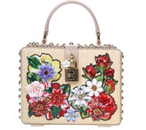 Dolce & Gabbana Handbag Box In Raffia And Leather With Floral Details