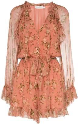 Zimmermann floral tie-neck mini dress