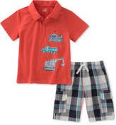 Kids Headquarters 2-Pc. Trucks Graphic-Print Cotton Polo & Plaid Shorts Set, Little Boys