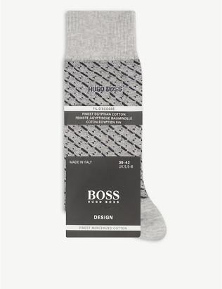 HUGO BOSS Jacquard-print cotton-blend socks