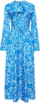 Valentino Grace-Print Silk Tie-Neck Midi Dress