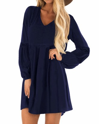 YOINS Women Long Sleeve Mini Dresses Ladies Wedding Elegant Dress Spring V Neck Long Shirt Loose Tunic Dresses Navy XL
