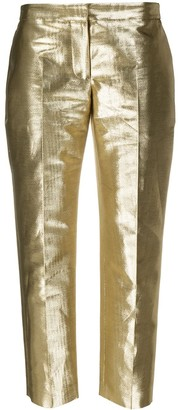 Alexander McQueen Metallic-Effect Straight-Leg Trousers