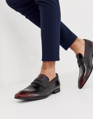 Ted Baker gaelhi loafers in burgundy hi shine-Red