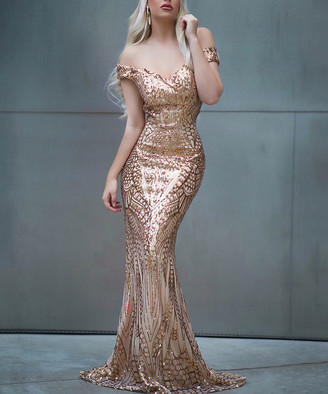 Vicky and Lucas Women's Special Occasion Dresses Gold - Gold Sequin Off-Shoulder Gown - Women