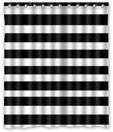 "Black and White Stripe Background Waterproof Shower Curtain/Bath Curtain-Size: 60"" x 72"""