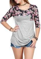 Jiayiqi Ladies Novelty Crewneck Tunic Blouse Flower Sleeve T-shirt XL
