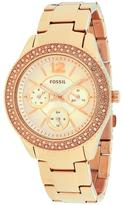 Fossil ES3590 Women's Stella Pink Stainless Steel Watch with Crystal Accents