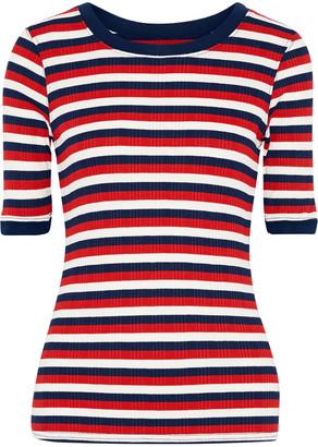 Current/Elliott The Dorthea Striped Ribbed-knit T-shirt
