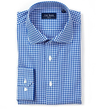Tie Bar Gingham Classic Blue Non-Iron Dress Shirt