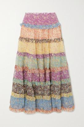 Zimmermann Carnaby Ruffled Floral-print Silk-chiffon Maxi Skirt - Lilac