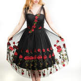 English Country Vintage Red Rose Tulle Prom/ Special Occasion Dress
