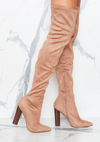 Missy Empire Viven Camel Suede Knee High Heeled Boots