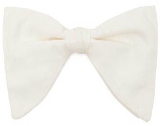 Gucci Butterfly Silk Faille Bow Tie - Mens - White