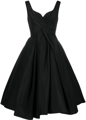 Alexander McQueen Pleated Full Skirt Midi Dress