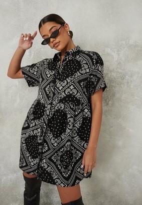 Missguided Black Paisley Print Satin Dress