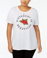 Hybrid Trendy Plus Size Different Is Beautiful Graphic T-Shirt