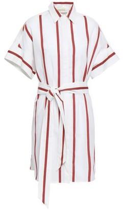 By Malene Birger Striped Cotton And Linen-blend Mini Shirt Dress