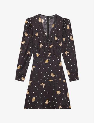 The Kooples Polka dot and butterfly-print woven mini dress