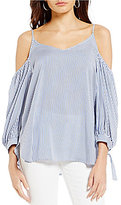 Soprano Striped Cold Shoulder Tie-Sleeve Top