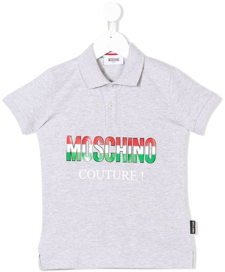 MOSCHINO BAMBINO Logo Couture Print Polo Shirt