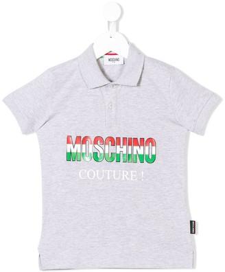 Moschino Kids logo couture print polo shirt