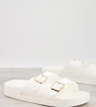 London Rebel wide fit double buckle footbed sandals in white