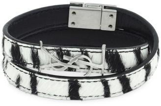 Saint Laurent Ponyskin Double Leather Bracelet