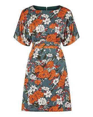 Yumi Curves Floral Kimono Sleeve Dress