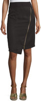 XCVI Marie Asymmetric-Zip Skirt, Black