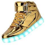 Gloria JR Kids Boy Girl Children High Top Led Sneakers Light Up Flashing Shoes 8 color light (US 4.5(Big Kid)=EUR37, )