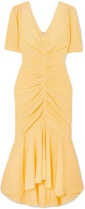 STAUD Panier Asymmetric Ruched Gingham Stretch-seersucker Dress