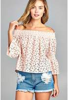 MARCELLE MARGAUX Marcelle Margaux: Calypso Off Shoulder 3/4 Sleeve Floral Lace Top.